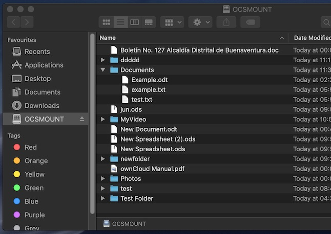 WebDAV cloud storage in macOS Finder with ocsmount (ownCloud compatible)
